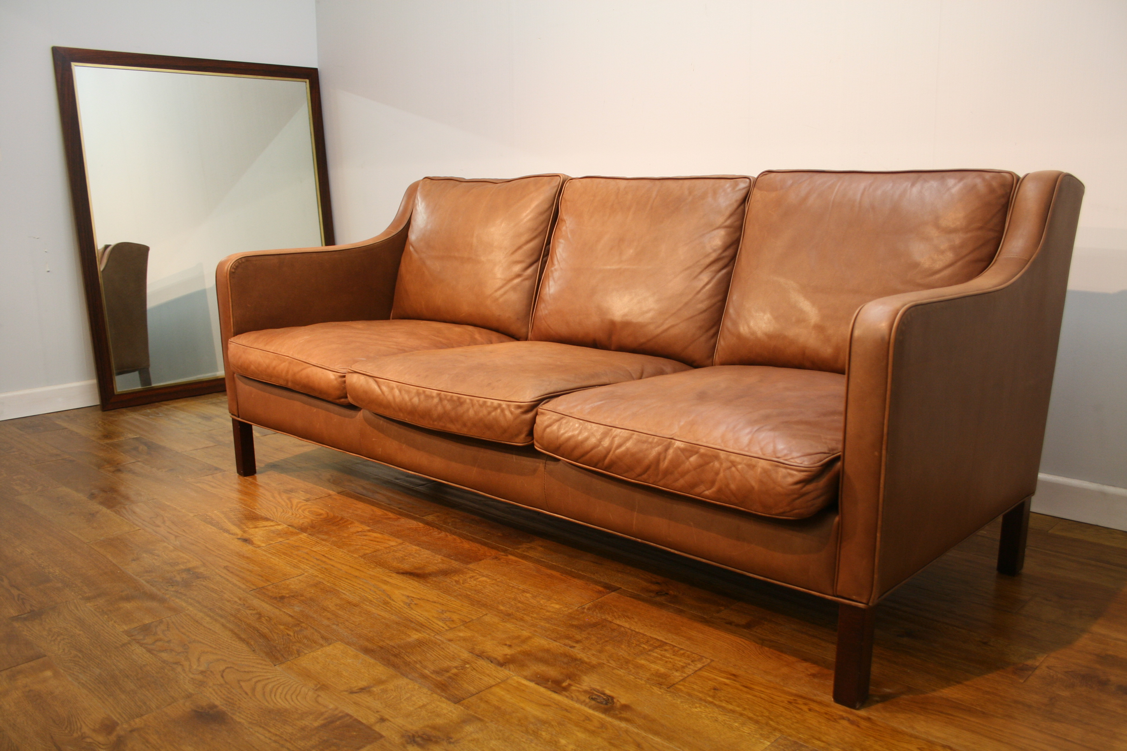 70s Vintage Stouby 3 Seat Leather Sofa Pure Imagination