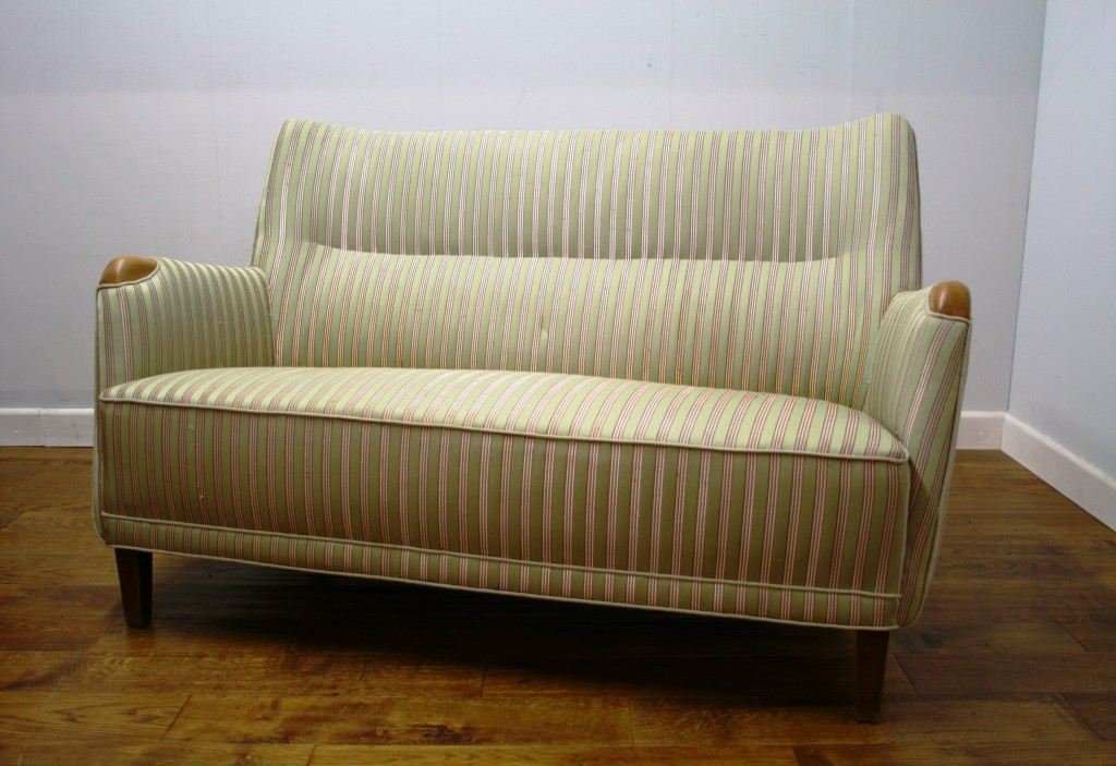smart small danish sprung sofa c 1950 pure imagination. Black Bedroom Furniture Sets. Home Design Ideas