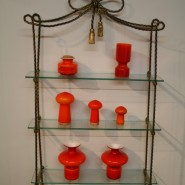 glass and brass antique shelves