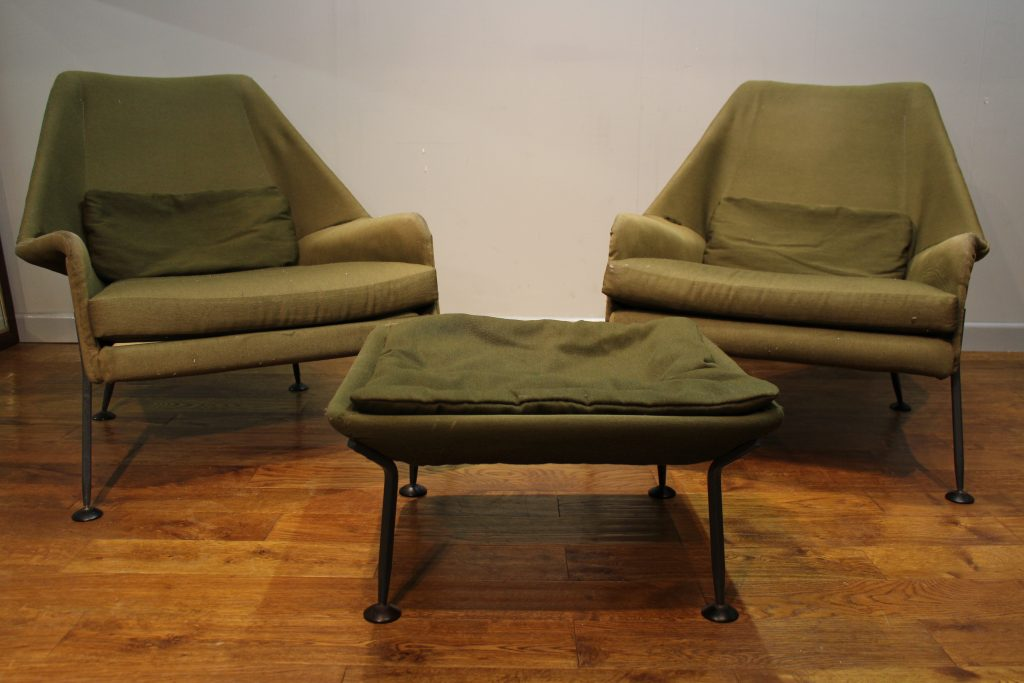 Pair Of Ernest Race Heron Chairs With Footstool Pure