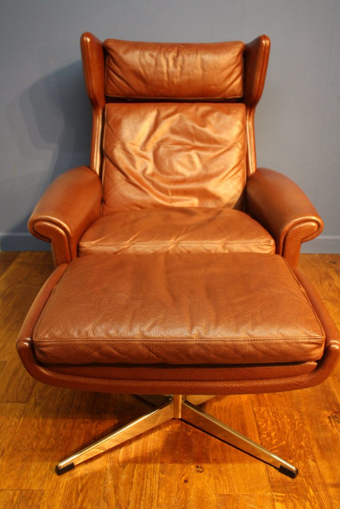 Mid Century Danish Leather Swivel Chair And Footstool